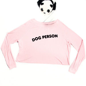 Pink 'dog person' Wildfox long sleeve top